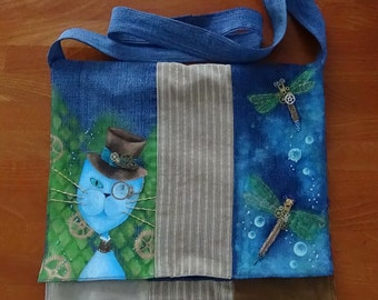 UniCat Bag - recycled trousers hand painted (denim, corduroy), steampunk