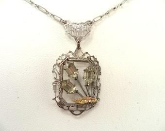 Vintage Art Deco Filigree Necklace