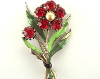 Large Vintage 1930s Pot Metal Enamel Red Rhinestone Flower Brooch
