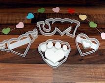Love Heart Valentines, Wedding Cookie Cutters x4 Paw Print, Love Hearts, Heart Wings, I Love U