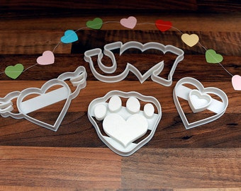 Love Heart Valentines, Wedding Cookie Cutters x4 Paw Print, Love Hearts, Heart Wings, I Love U
