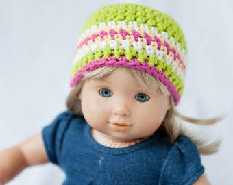 Bitty Twin Green, White, Yellow & Pink Striped Beanie Hat