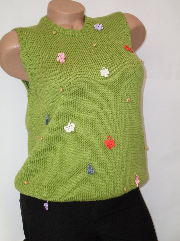 Handmade Women's Sleeveless Sweater Knit Clothes Women