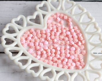 Pink Rose Beads 9mm Resin Rose Beads Light Pink Rose Beads 1mm Hole Pre Drilled Rose Beads