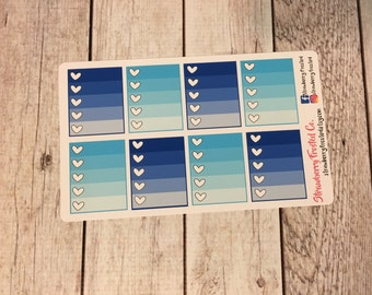 Blues Monthly Ombre Checklist Planner Stickers -Vertical Planners/