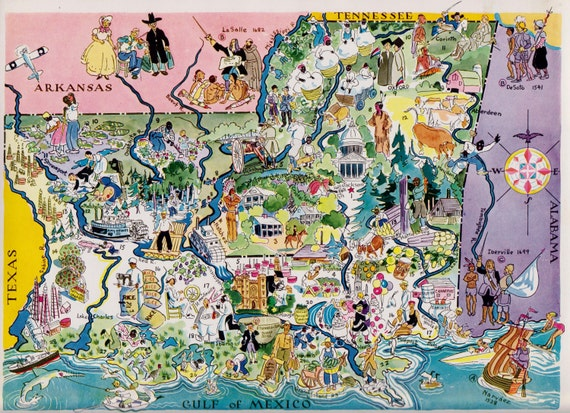 30s Fun LOUISIANA Map MISSISSIPPI Map of by OnTheWallPrints – Mississippi Tourist Attractions Map