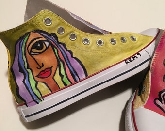 Lady Kathryn - Mind, body, soul and spirit.  Hand -painted abstract Converse sneakers.