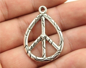 3 Peace Sign Charms, Antique Silver Tone (1H-114)