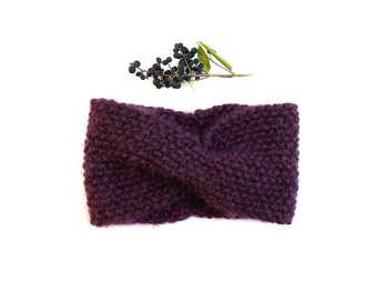 Knitted wool natural, Eggplant Purple headband