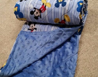 Mickey Mouse Cross Stitched Minky/Cotton Blanket
