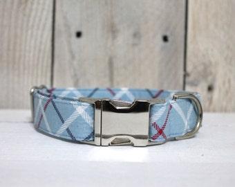 Light Blue Plaid Dog Collar