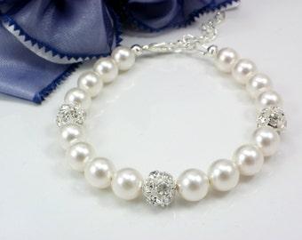 Bridesmaid gift, Set of 1,2,3,4,5,6,7,8,9,10 Bracelets,Swarovski Ivory Pearl Bracelets, bridesmaid bracelets, weddings bridal bracelets gift