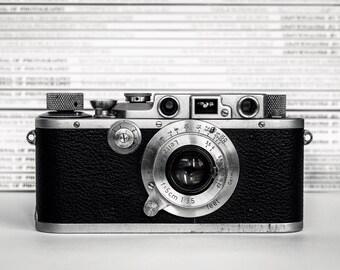 photographic art print black and white vintage camera