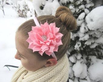 Light pink flower headband,toddler girl tween flower headband, spring and Easter headband, wedding and special occasion headband