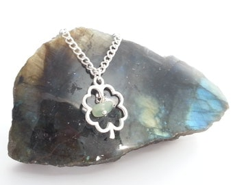Silver Plated Lucky Four Leaf Clover Jade Necklace
