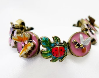 Unique Enamel Rhinestone Medallion Stretch Bracelet