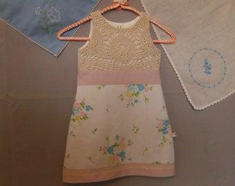 Girl's 3T Dress, Girl's 3T Sleeveless Dress, Upcycled Dress 3T, Vintage Dress 3T