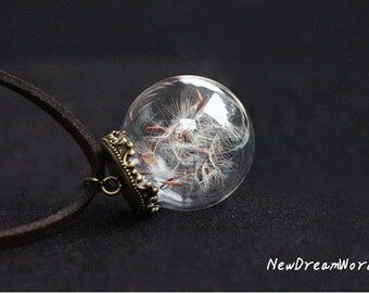 "Real Dandelion Seed Necklace,Glass Orb Terrarium Pendant Make A Wish Gift With 1"" Glass Orb/ Pressed Flower Jewelry,Glass Ball Necklace"