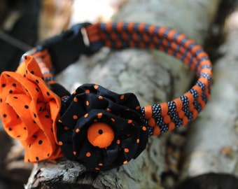 Halloween Dog Collar Set - Black and White Dot and Orange weave. Two Removable Vintage Fabric Flowers For medium to large breed dogs
