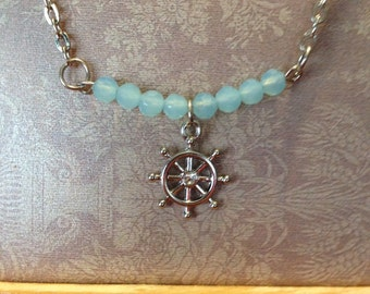 Ships wheel 21 in necklace