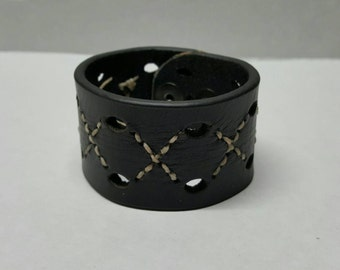 Black leather hand stitched cuff