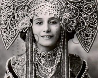 Anna PAVLOVA Photo Postcard. Fab Vintage Ballet Ephemera RARE Pavlova Portrait. Russian Vintage Ballet Digital Download.