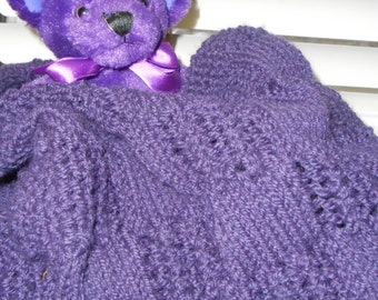 Truly PURPLE Hand-knitted Squares and Lace Worsted Weight  Baby Afghan Baby  Blanket or Lap Blanket