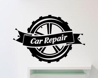 Car Repair Service Wall Sticker Car Workshop Logo Auto Service Vinyl Decal Home Interior Decoration Waterproof High Quality Mural (421xx)