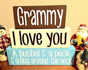Rustic I Love You a Bushel and a Peck Wood Block Set Shelf Sitter Grammy Nana Granny Mamaw Gigi Grandma