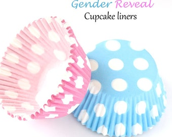 Gender reveal cupcake liners, pink and blue cupcake liners, gender reveal party, baby shower cupcake liners, pink and blue dot cupcake liner