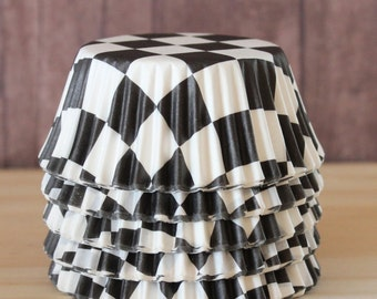 Black and white checkered cupcake liners set of 25-cupcake liners,  stay bright checkered cupcake wrappers, baby shower cupcake wrappers