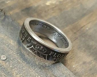 British Coin Ring - Florin - Silver Coin Ring - Vintage Men's Ring