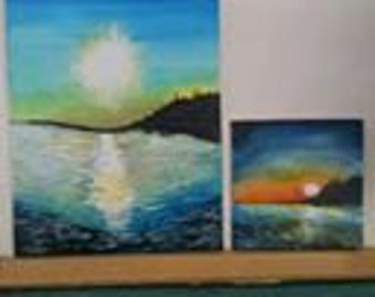 Ochlockonee Bay Inspired Set of Acrylic Paintings.