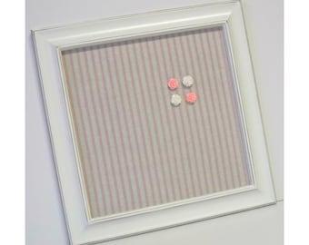 Nursery Rhyme Pink Ticking Stripe ~ Framed Magnetic Memo Board w/ Rose Magnets