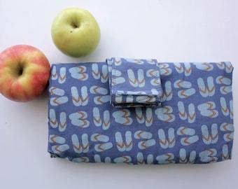 Market Bag ~ Green Eco Bag ~ Shopping Bag ~ Shoulder Bag ~ Handmade ~ Blue ~ Thongs ~ Large ~ Cotton Fabric ~ Washable ~ Foldable