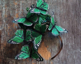 Emerald Monarch Butterfly Fascinator Headpiece Headdress, Headband, Derby, Royal Ascot, Hat