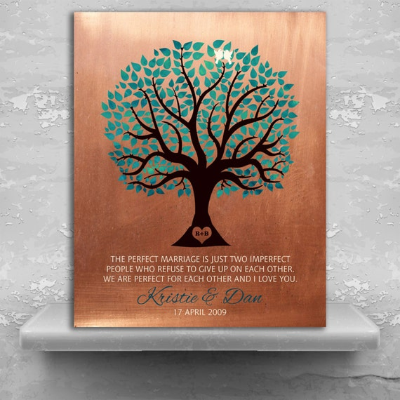 7th Traditional Anniversary Personalized Gift Faux Copper Turquoise ...