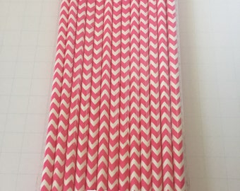 25 PAPER STRAWS Chevron Hot pink