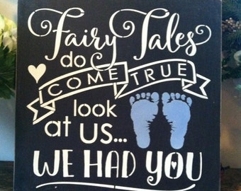 "Wood sign Fairy Tales Do Come True boy 12"" x 12"""