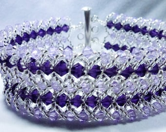 Light and dark purple beadwoven Swarovski crystal cuff bracelet