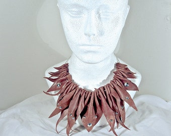 Brown Leather Studded Necklace