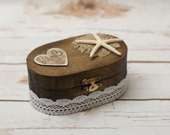 Beach Wedding Ring Box Bearer Pillow Rustic Ring Holder Wedding Beach Nautical Ring Box Starfish