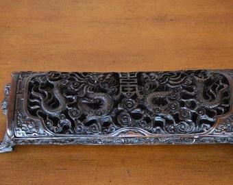 Vintage Dragon Chinese Incense Burner-Bone Resin Rare