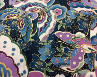 Kona bay fabric 2006 design MIYU-03 purple and blue butterflys through out