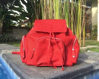 BEST PRICE! FREE shipping! Python backpack. Leather backpack. Designer backpack. Handmade backpack. Red backpack. Red leather backpack.