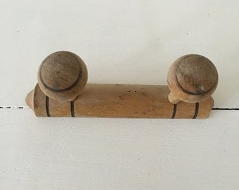 Vintage French wooden coat rack