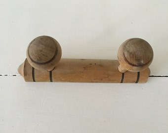 Vintage French wooden coat rack