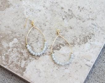 Light Dusty Blue Crystal Hoop Earrings - Oval Gold Wire Hoop Earrings