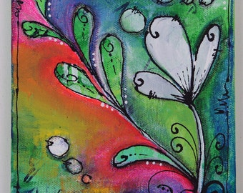Mixed Media Canvas, Flower Detail #2
