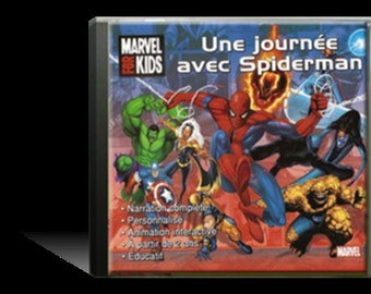 "Interactive and animated story ""A day with Spiderman"" - CD child - Kdo custom - Name - hero story - Super hero"